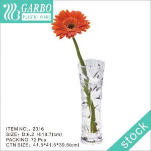 China home decor unbreakable 19cm height transparent slim Plastic Flower Vase