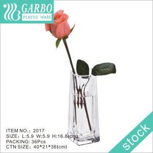 Hotel use transparent square shape resuable broken resistant flower plastic vase