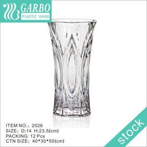 China New flower arrangement embossment plastic vase for office table decor