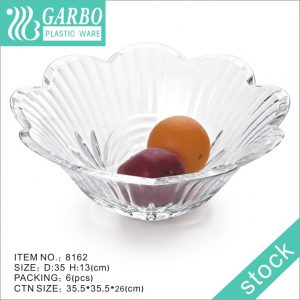 Top mouth V flower shape string line clear plastic fruit plate