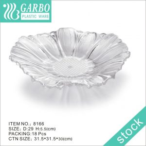 Elegant clear cheap price plastic flower shape fruit plate