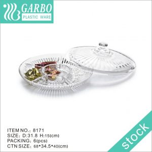 5 components plastic serving charger plates with lid for party