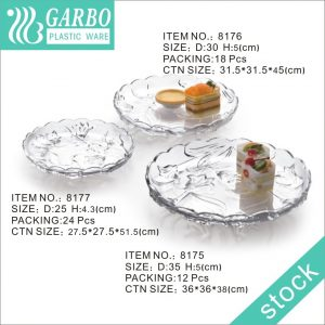 Unbreakable Large Polycarbonate Fruit Cake Plate Set of 3