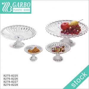 Hot sell food grade clear plastic fruit plate with stand