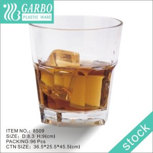 cheap price transparent Rock design Acrylic/PC beer cup cool bar 270ml whiskey cup