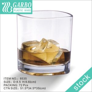 China OEM popular 15oz Recyclable & Unbreakable transparent plastic whiskey wine cup
