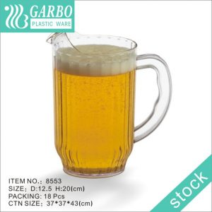 Plastic Stackable Water Pitcher Polycarbonate Plastic Pitcher Swirl Ice Lid Beer Jug