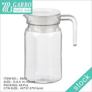 Jarro de plástico com filtro de chá de 600ml para água doméstica e tampa branca