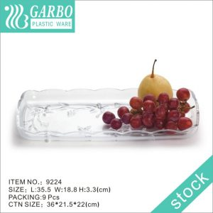 355mm big rectangle plastic fruit plate for daily use
