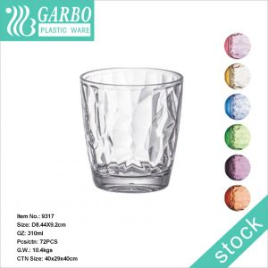 Home use transparent 310ml/400ml/480ml reusable plastic material PC water cup with pattern