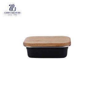 Caja fresca de acero inoxidable 400 de 304 ml con tapa de bambú hermética