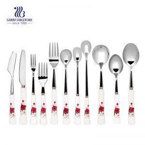 Stainless Steel Set 11 Pieces Cutlery Set Tableware Printing Plastic Handle