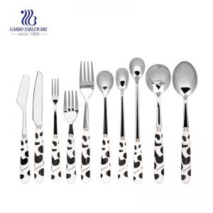 18/0 Stainless Steel 11 Pieces Flatware Set With Black And White Colour Plastic Handle