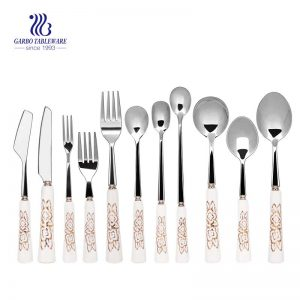11 Pieces Flatware Set With Printing Ceramic Handle Cutlery Set For Wedding