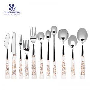 Набор столовых приборов 11 частей с набором столовых приборов ручки керамической ручки для свадьбы