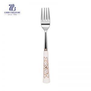 Tenedor de mesa de acero inoxidable pulido espejo con mango de cerámica