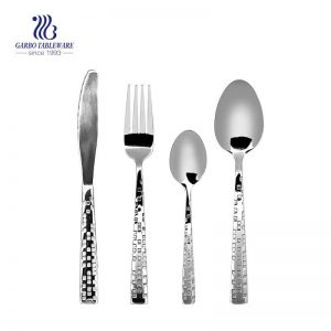 24 Piece Hammered Silverware Set 18/10 Stainless Steel Flatware Cutlery Eating Utensils for 4 With Unique Fancy Pattern