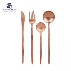 Rose Gold Stainless Steel Eco-Friendly Dishwasher Safe Flatware Set Service For 4