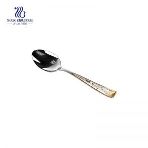 Mirror Polished Stainless Steel Dinner Spoon Luxury Dessert Spoon With Gold And Laser