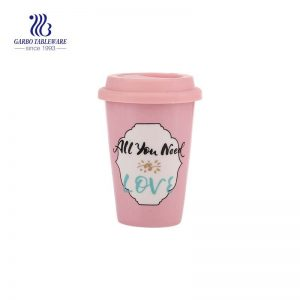 14 Oz  Pink Color  Ceramic  coffee cup with silicone pink lid