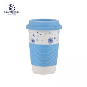 Taza de té elegante de porcelana azul de 400 ml para pedido de regalo de uso doméstico