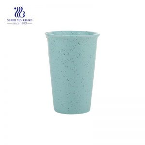 Personalized speckled 410ml green ceramic travel cup