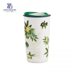 stoneware 550ml  Oem flower decal for ceramic espresso cups for gift