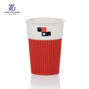380 ml porcelian china keep cup for coffee and tea  with red silicone sleeve