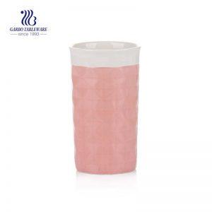 High quality orange diamond pattern magnesia porcelain tea cup with 450ml volume