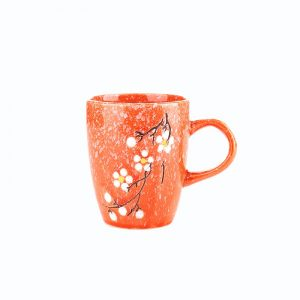 240cc Factory OEM glazed printing colored ceramic coffee cup with handle