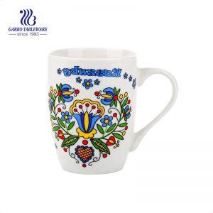 12 أوقية أكواب قهوة مصنوعة يدويًا مخصصة من السيراميك مستديرة بيضاء كلاسيكية حزمة كبيرة من أكواب حليب السيراميك مع مقبض