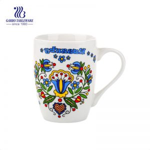 12oz handmade customized ceramic coffee mugs round classic white bulk pack ceramic milk mugs with handle