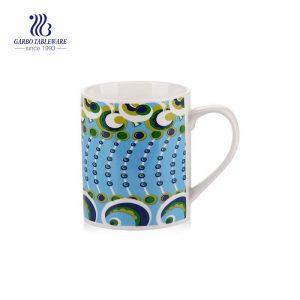 12 أوقية السيراميك الأبيض تعزيز تصنيع أكواب الشاي السيراميك شارات زهرة أكواب الحليب السيراميك