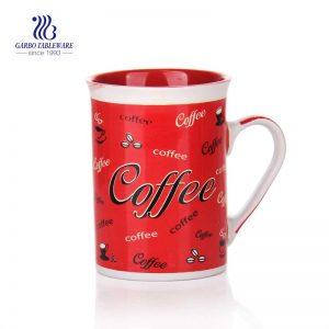 8oz small customized white ceramic coffee mug promotion red decal designs gift ceramic travel mug