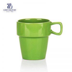 Hand printing 260ml ceramic coffee mug green colored restaurant hotle usage ceramic tea mug with handle