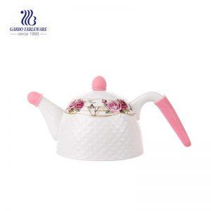 Tetera de cerámica hecha a mano de cerámica blanca de 740 ml