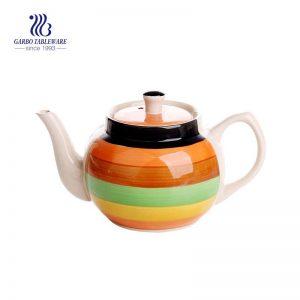 Tetera de cerámica de empaquetado a granel de la venta al por mayor hecha a mano del gres 1000ml
