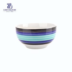 Wholesale high quality small round glazed brown light blue cereal noodle bowl with factory price
