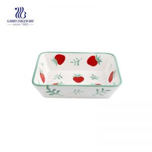 750ml square ceramic baking bowls with color glazed pattern