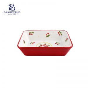Red cherry pattern square ceramic baking pan for oven safe