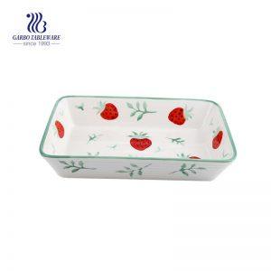 طبق خزفي مستطيل سعة 1 لتر مع نمط فراولة مخصص