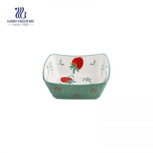 6inch square porcelain baking dish with ear handle and green color glazed