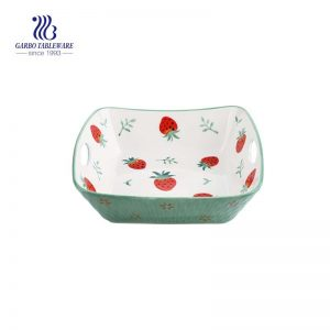 Strawberry color glazed ceramic pie dish with easy-carried handle