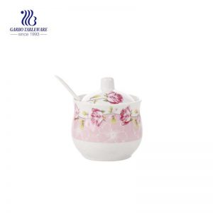 Chaozhou Ceramics Flower Sugar Bowl Seasoning Pot Salt Pepper Storage Jar with Lid And Spoon