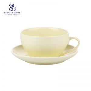 Breakfast  Series  Yellow  210ml Ceramic Coffee Mug And Saucer Set