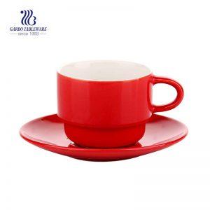 Ceramic tableware Retro red color 3.4 oz  ceramic espresso cup with saucer for dinner