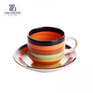 Набор цветных фарфоровых чайных кружек и блюдце Stoneware Rainbow, 5.8 унций