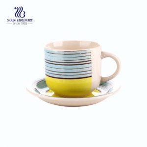 Stoneware tablewareColorful 350ml Porcelain tea mug with saucer set