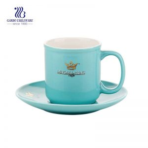 Blue Color 4.3oz Stoneware Tea Mug with a saucer for breakfast