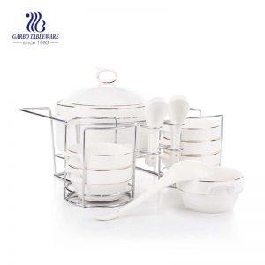 Wholesale factory price fine porcelain tableware 14pcs ceramic dinner set with casserole pot bowls spoons